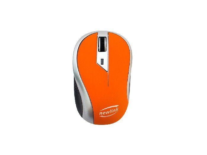 Mouse Wireless Newlink Wave Laranja/cinza MO112