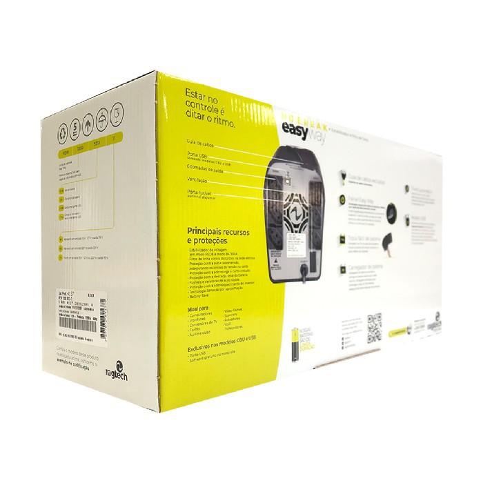 Nobreak 1200VA Ragtech Easy Way STD-TI, Entrada Trivolt, Saída 115V, 6 Tomadas, Preto - 20NEW4137