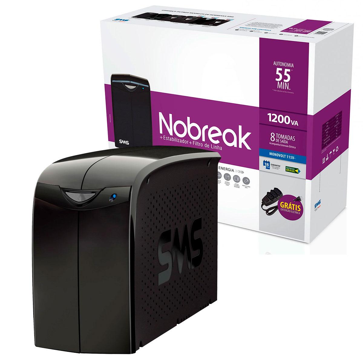 Nobreak 1200VA SMS Station II Ent. Mono 115/127V, Saída 115V, 8 Tomadas (6 Traseiro + Ext.) - 27393