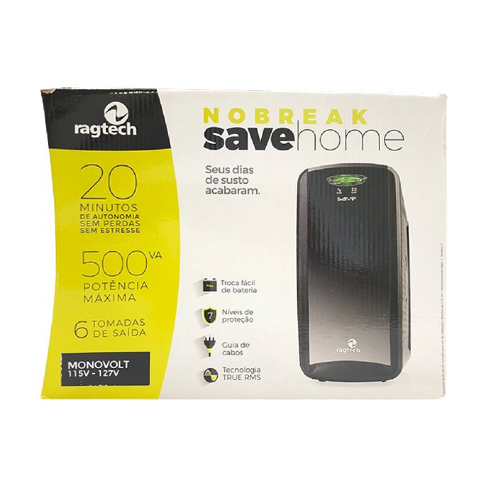 Nobreak 500VA Ragtech Save Home, Entrada Monovolt, Saída 115V, 6 Tomadas, Preto - 20NSH4117