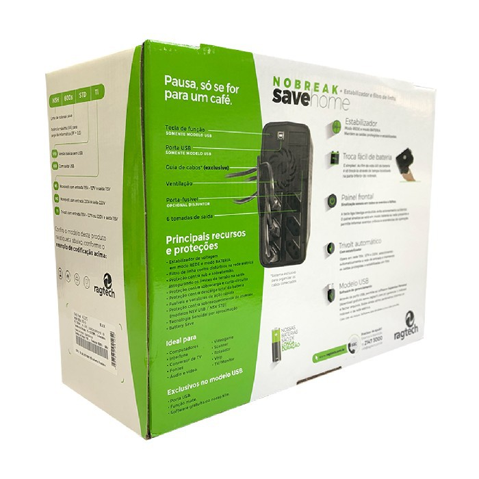 Nobreak 600VA Ragtech Save Home 115/115 STD-MI Black - 20NSH4126