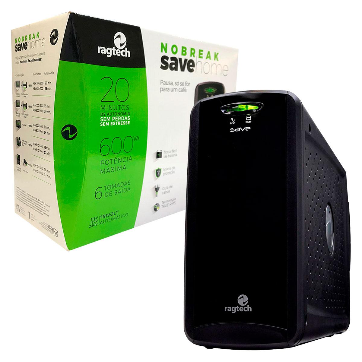 Nobreak 600VA Ragtech Save Home STD-TI, Entrada Trivolt, Saída 115V, 6 Tomadas, Preto - 20NSH4125