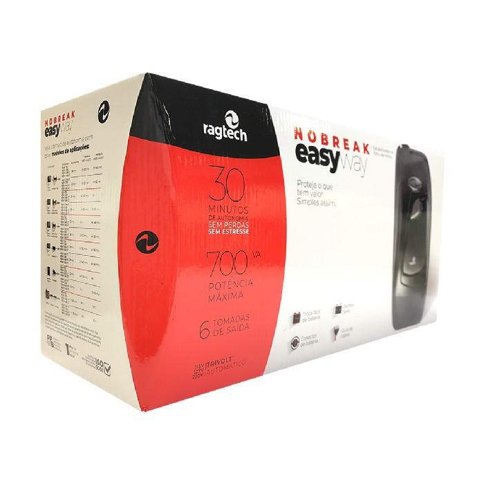 Nobreak 700VA Ragtech Easy Way CB-TI, Entrada Trivolt, Saída 115V, 6 Tomadas, Preto - 20NEW4139