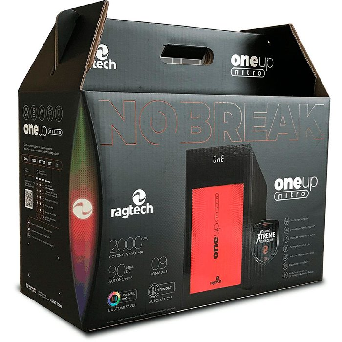 Nobreak Gamer Senoidal Ragtech One Up Nitro, 2000VA, Entrada (115-127-220V), Saída 115V - 20ONE4590