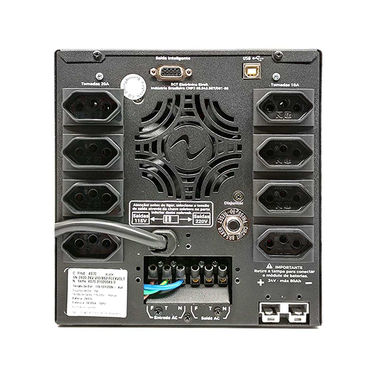 Nobreak Ragtech Senium Senoidal 2400VA, FlexVolt, 8 Tomadas, 2 Baterias 12V/9Ah, 60Hz - 20SNM4070