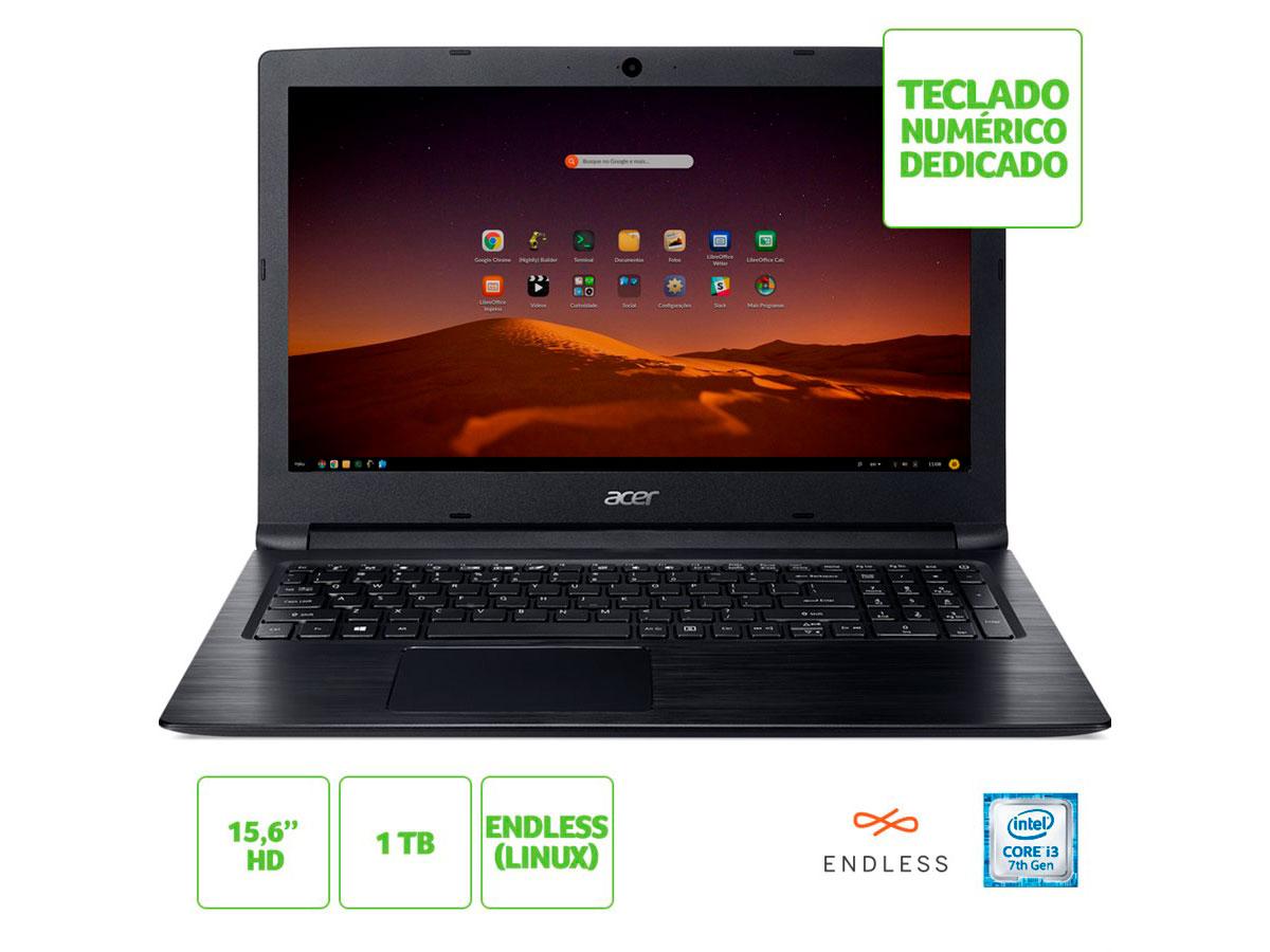 """Notebook Acer Proc I3-7020U 1TB/4GB/15,6""""/Linux A315-53-343Y"""