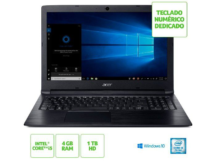 "Notebook Acer Proc I5-7200U/HD 1TB/4GB/15.6""/W10H A315-53-55DD"