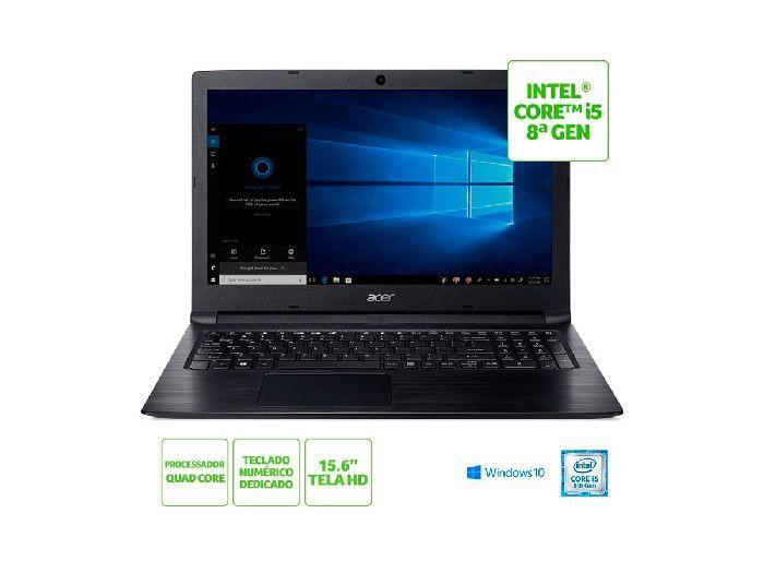 """Notebook Acer Processaor I5-8250U 8 Geração 1TB/4GB/15,6""""/W10 Home A315-53-C6CS"""