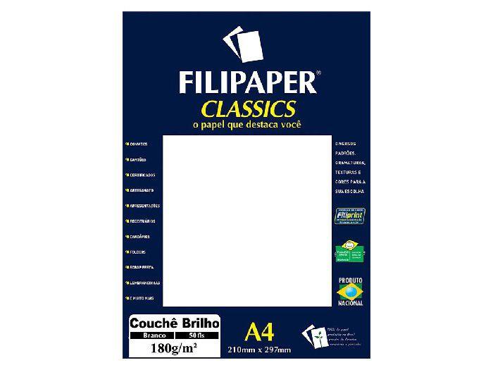 Papel Couchê Classics A4, 180 g, 50 Folhas, Filipaper - Branco Brilho - 01047