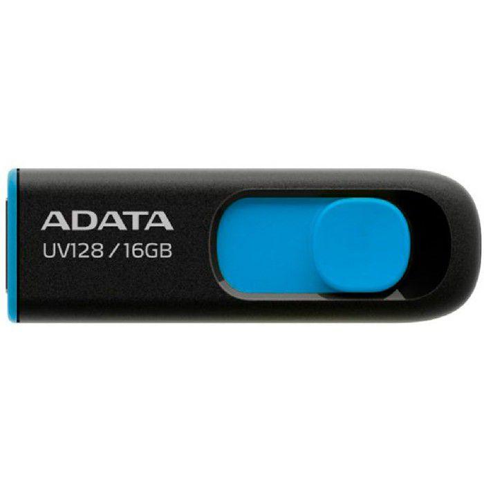 Pendrive Adata 16GB UV128 USB 3.2 Preto e Azul - AUV128-16G-RBE