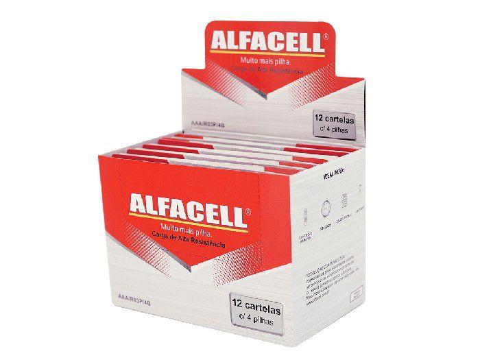 Pilha Comum AAA 1.5V, Cartela Com 4 Pilhas, Caixa Com 12 Unidades Alfacell - R03P4B