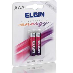 Pilha Recarregável Elgin AAA 1000mAh - Blister com 2 unidades