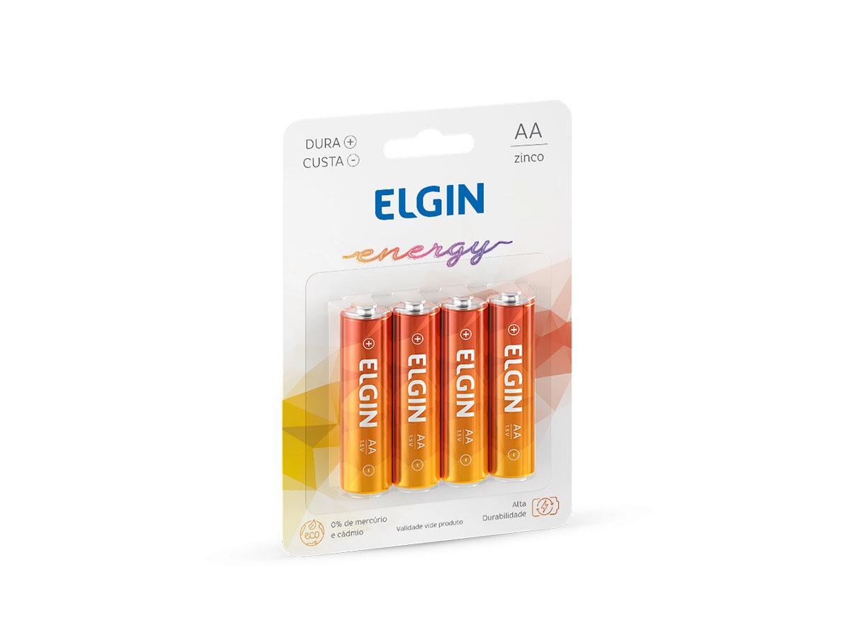 Pilha Zinco / Carvão AA R06, Blister Com 4 Unidades, Elgin - 82184