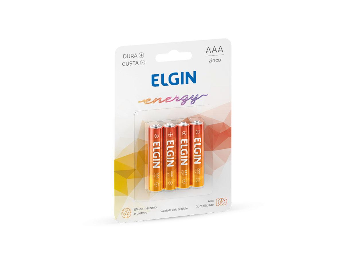 Pilha Zinco / Carvão R03P AAA, Blister Com 4 Unidades, Elgin - 82186
