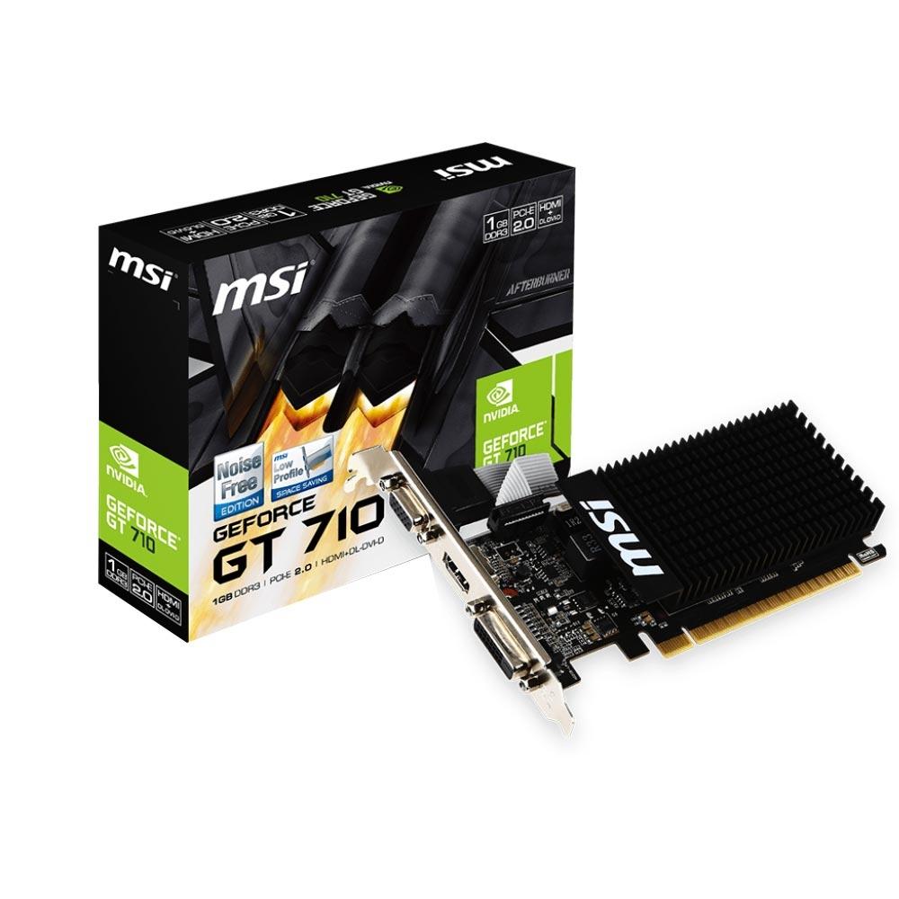 Placa de Vídeo 1GB MSI GeForce GT 710 DDR3 64Bits - GT 710 1GD3H LP - ESP