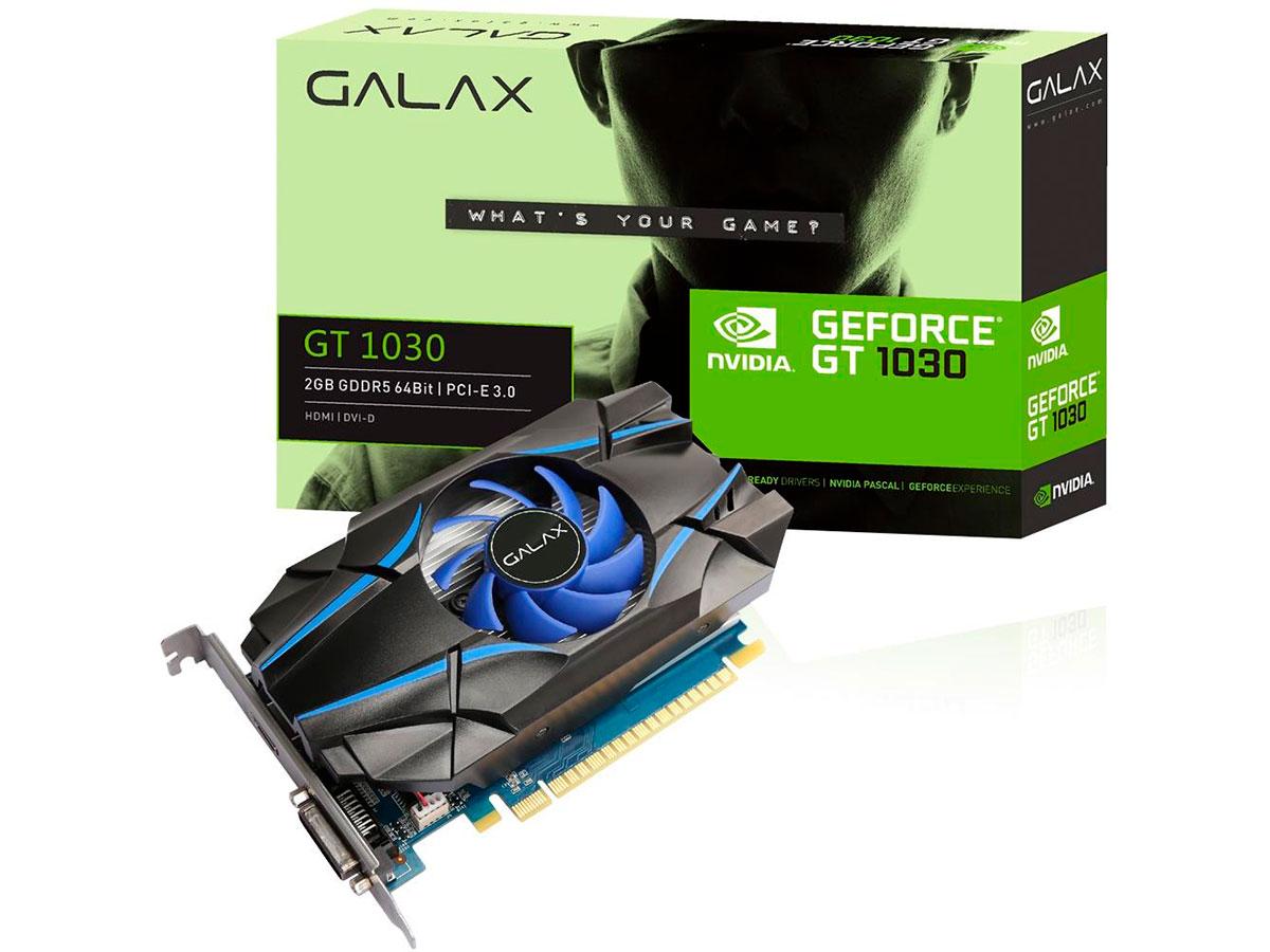 Placa de Vídeo 2GB Galax Geforce GT 1030 DDR5 64 Bits - 30NPH4HVQ4ST