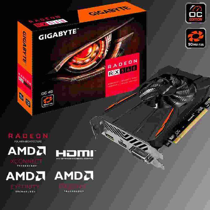 PLACA DE VIDEO 4GB GIGABYTE RX 560 4GB OC GV-RX560OC-4GD