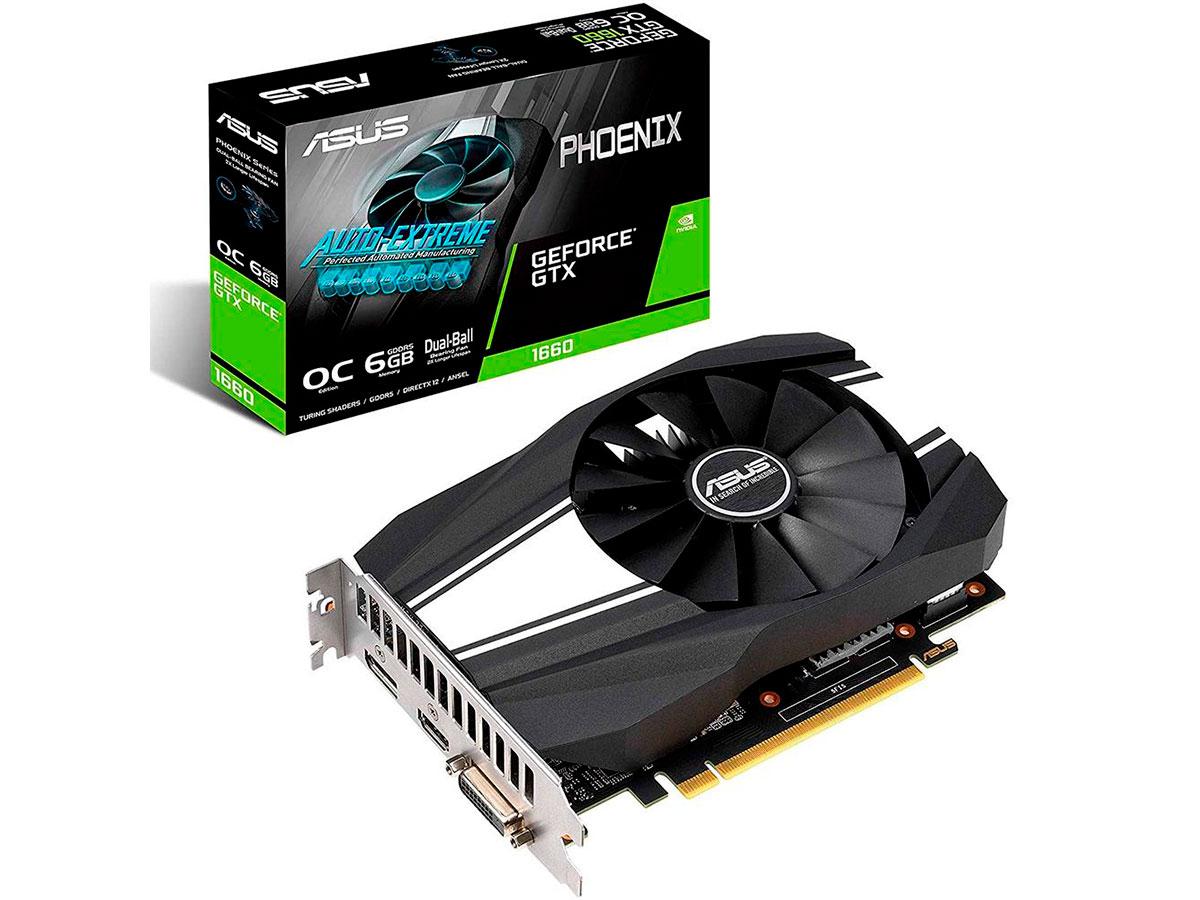 Placa de Vídeo 6GB Asus Geforce GTX1660 Phoenix Oc DDR5 - PH-GTX1660-O6G