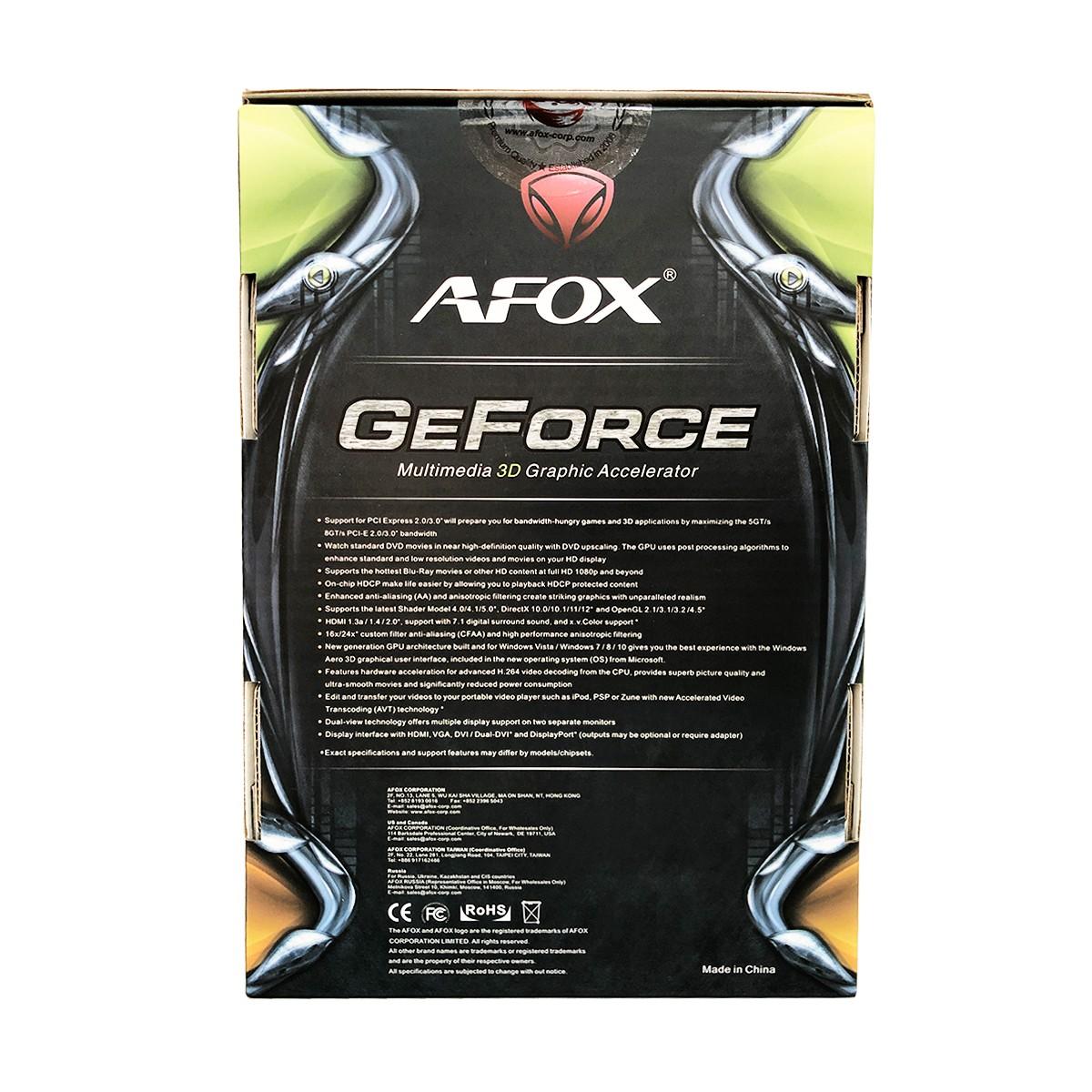 Placa de Vídeo Afox GeForce GT1030 2GB DDR5 64 Bits HDMI / DVI - AF1030-2048D5L4