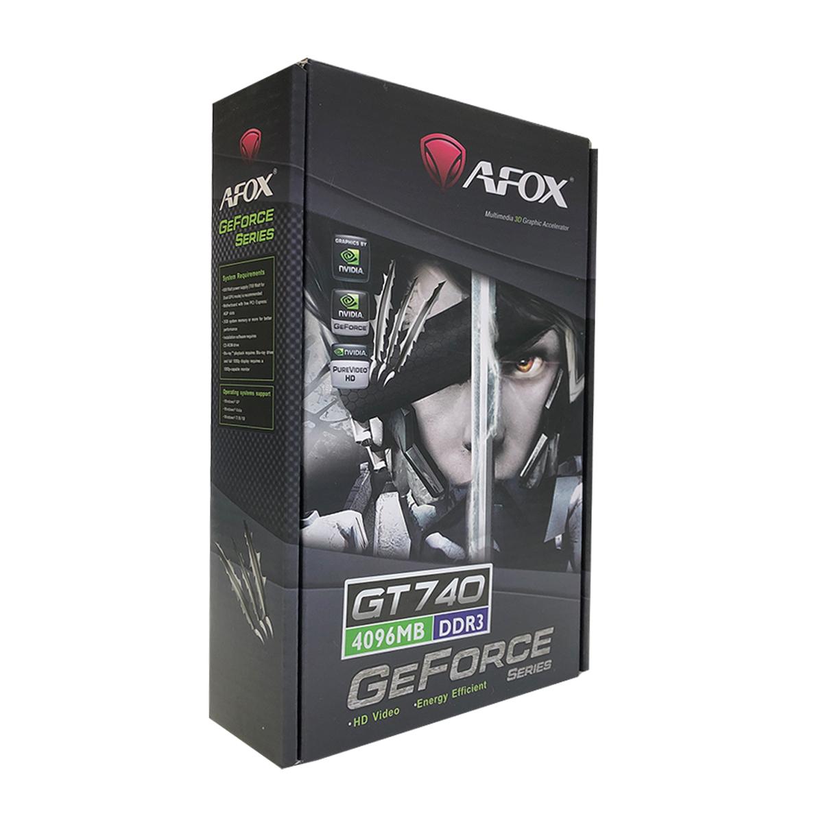 Placa de Vídeo Afox GeForce GT740 4GB, DDR3, 128 Bits, Low Profile, HDMI/DVI/VGA - AF740-4096D3L3