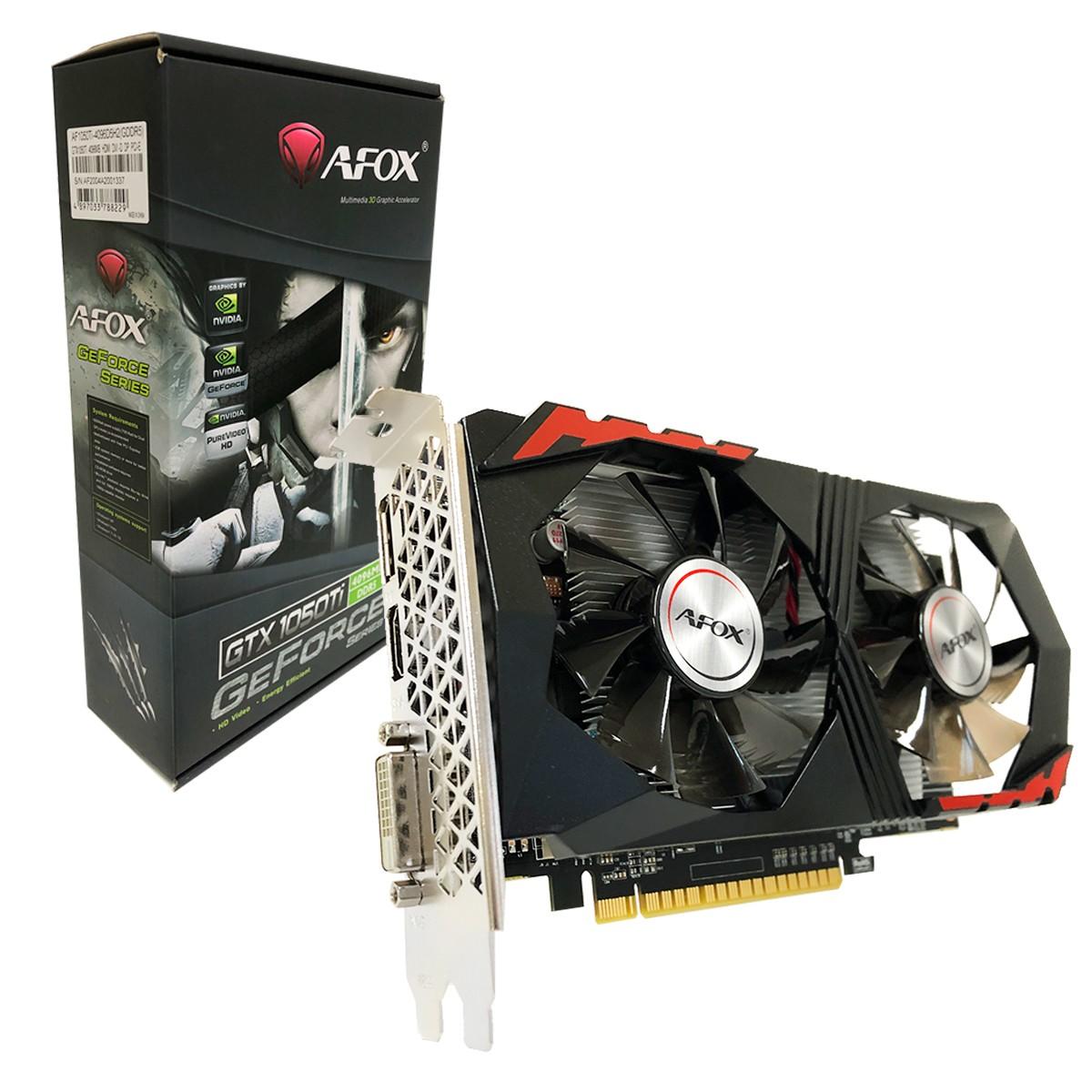 Placa de Vídeo AFOX Geforce GTX 1050 TI 4GB DDR5 128Bits HDMI/DVI/DisplayPort - AF1050TI-4096D5H2
