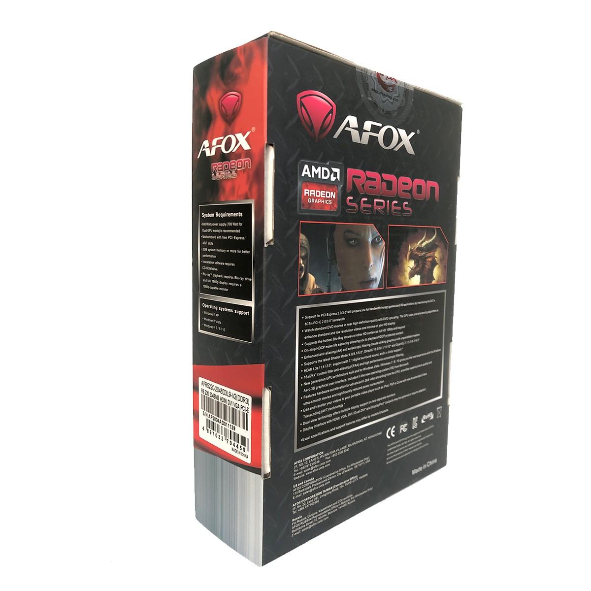 Placa de Vídeo AFOX Radeon R5 220 2GB DDR3 64 Bits LP HDMI / DVI / VGA - AFR5220-2048D3L9-V2