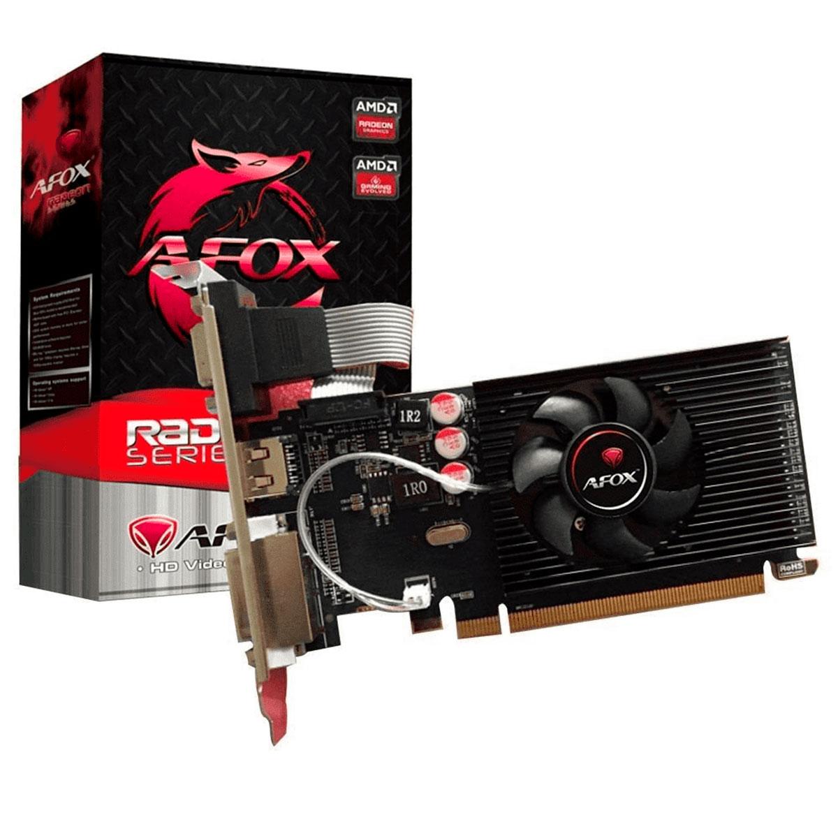 Placa de Vídeo Afox Radeon R5 230 1GB DDR3 64 Bits - HDMI - DVI - VGA - AFR5230-1024D3L5