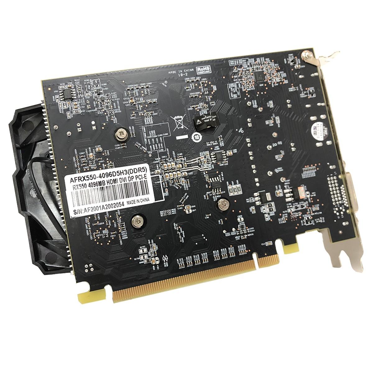 Placa de Vídeo Afox Radeon RX550, 4GB, DDR5, 128 Bits, HDMI/DVI/DisplayPort - AFRX550-4096D5H3