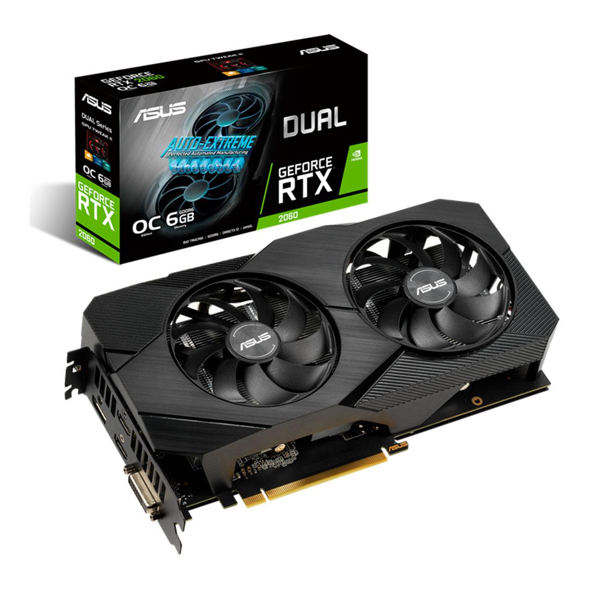 Placa de Vídeo Asus GeForce RTX 2060, 6GB, GDDR6, 192 Bits - DUAL-RTX2060-O6G-EVO
