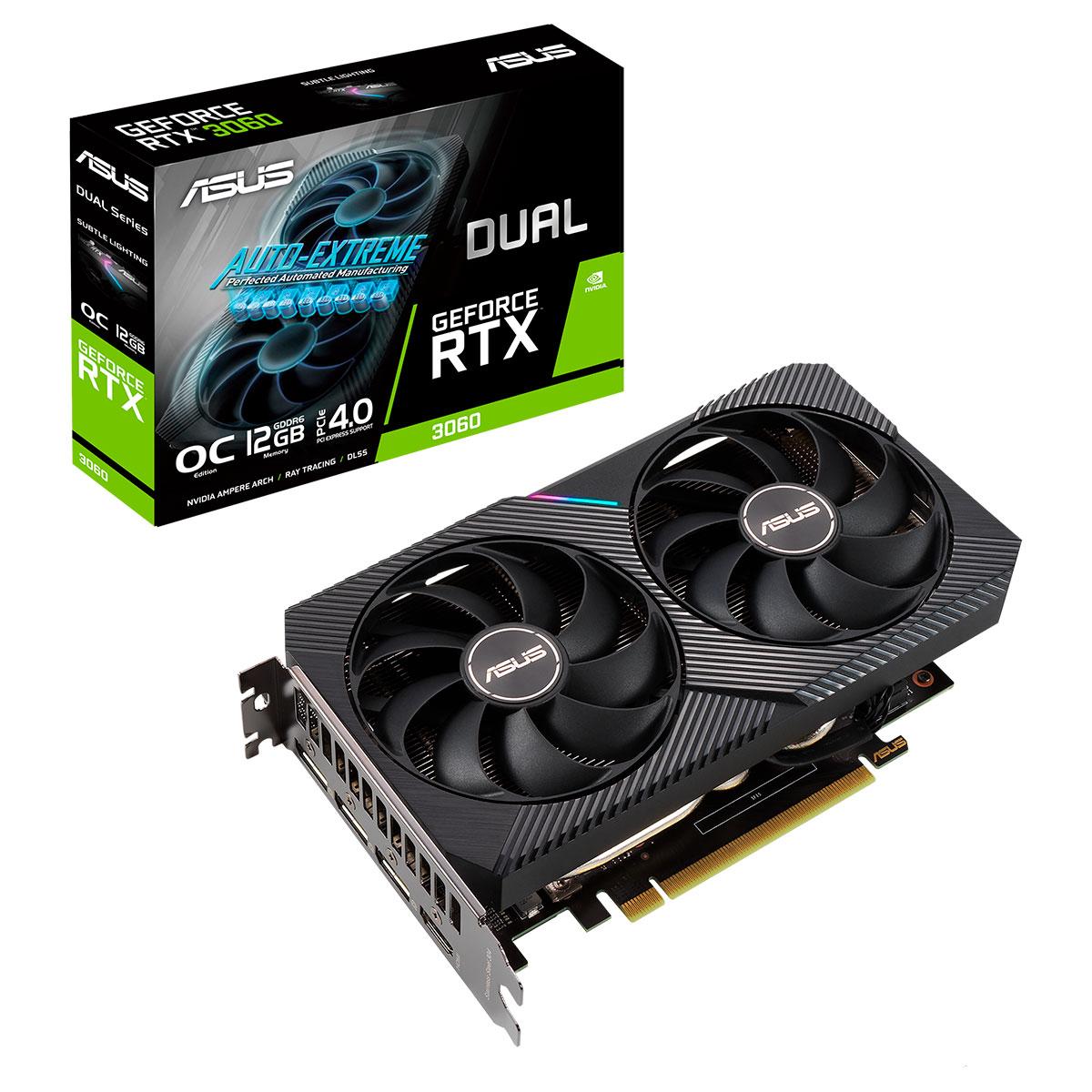 Placa de Vídeo Asus GeForce RTX 3060 OC Edition, 12GB, GDDR6, 192 Bits - DUAL-RTX3060-O12G