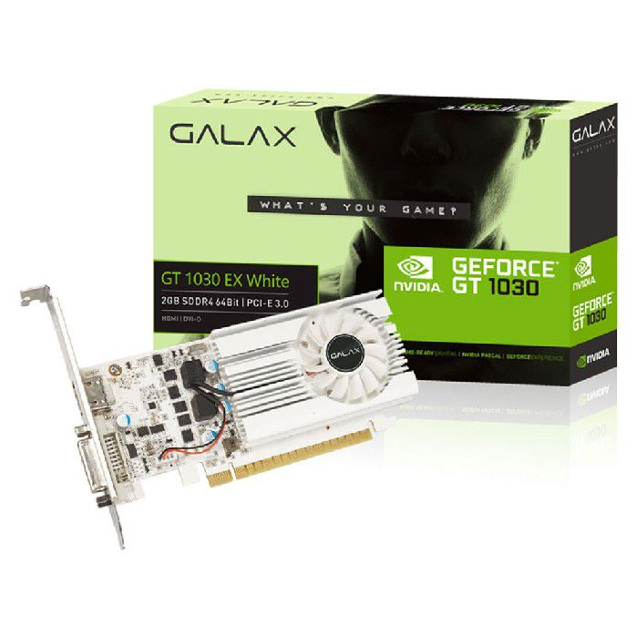 Placa de Video Galax Geforce Gt1030 2gb Exoc White Ddr4 64bits