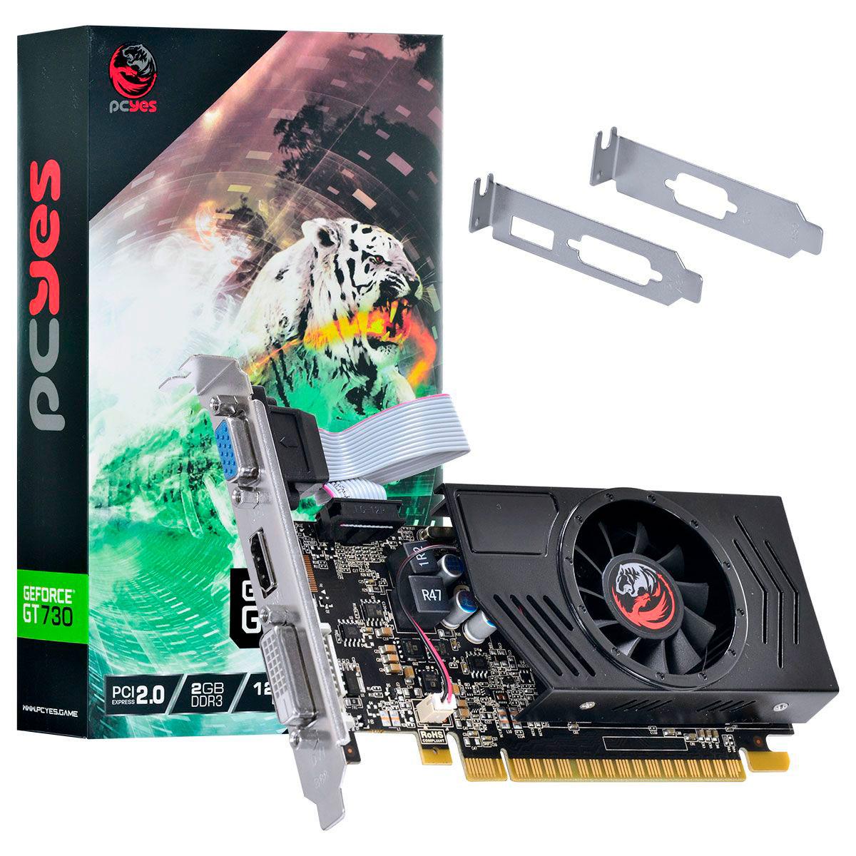 Placa de Vídeo Pcyes GT730 2GB DDR3 128 - PA730GT12802D3LP