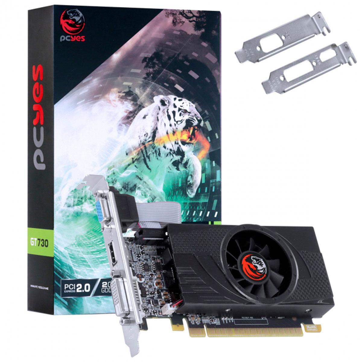 Placa de Vídeo PCYes GT 730 2GB GDDR5 64 Bits - PA730GT6402D5LP