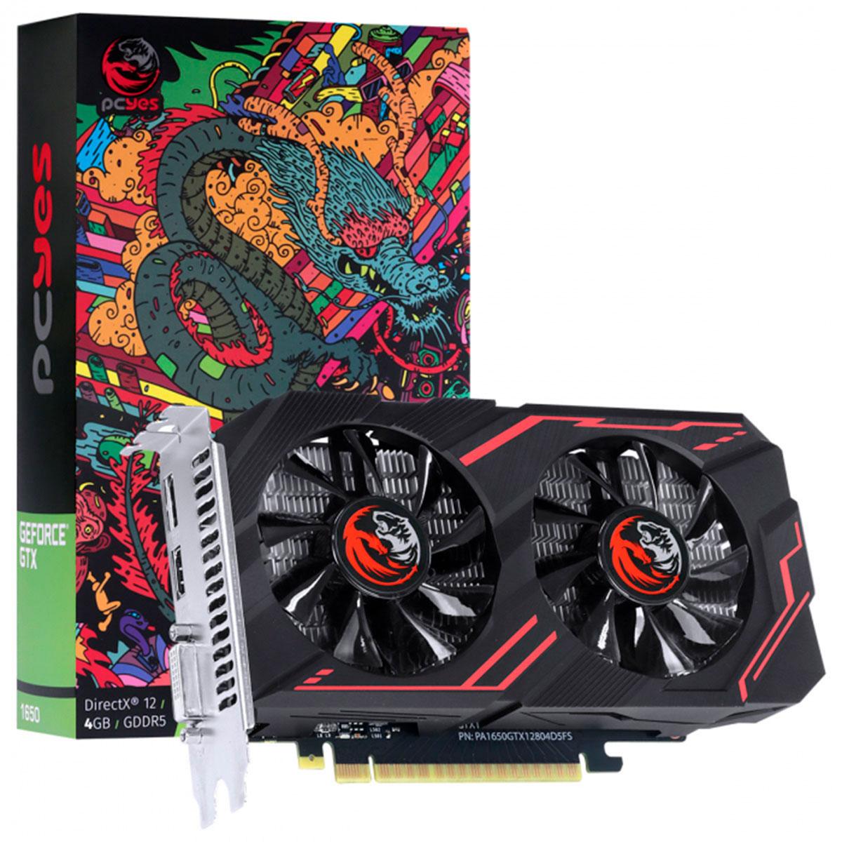 Placa de Vídeo PCYes GTX 1650 4GB DDR5 128 Bits - PA1650GTX12804D5FS
