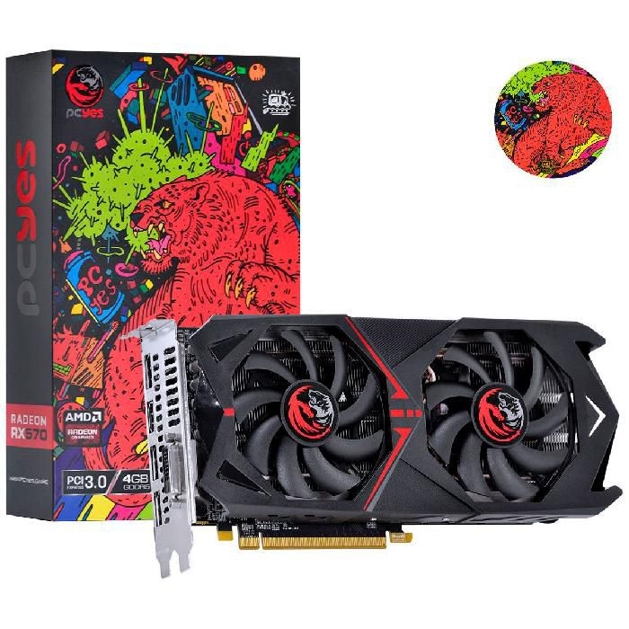 Placa de Vídeo Pcyes RX570 4GB GDDR5 256 Bits - PJ570RX256GD5 -  Graffiti Series
