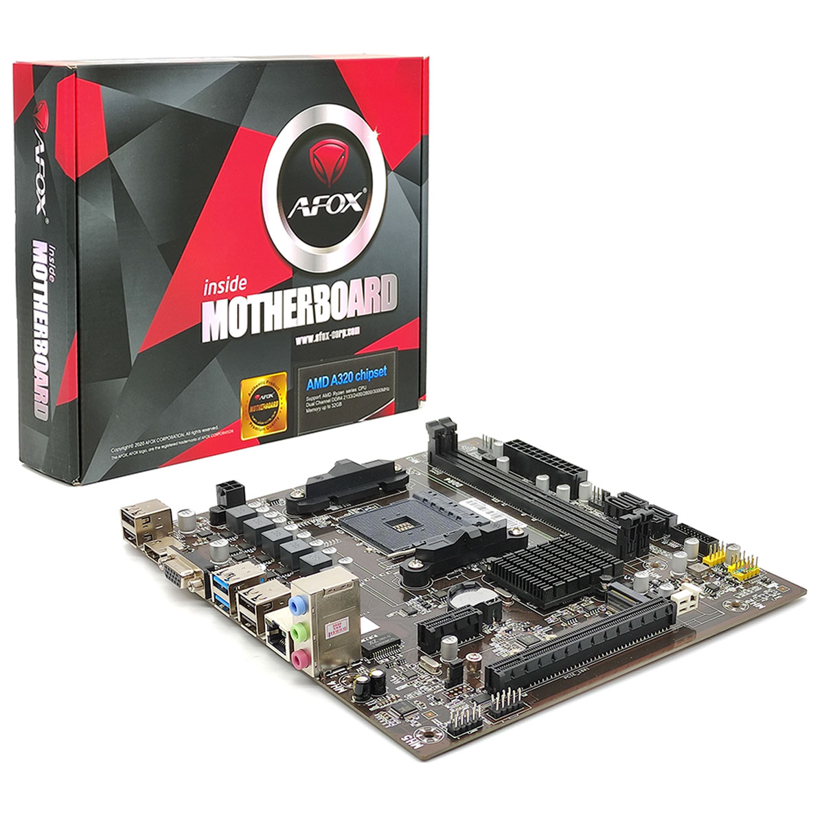 Placa Mãe AFOX A320-MA, Socket AM4, DDR4 - mATX
