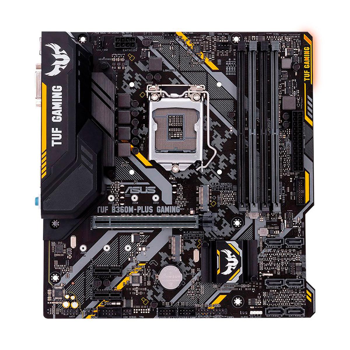 Placa Mãe Asus TUF B360M-PLUS GAMING/BR, Intel 9ª / 8ª Geração, 4 Slots DDR4, LGA1151