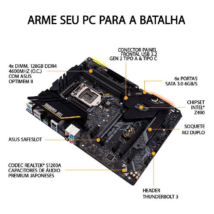 Placa Mãe Asus TUF Gaming Z490-Plus, Intel 10ª Geração, DDR4, LGA 1200 - 90MB1340-C1BAY0