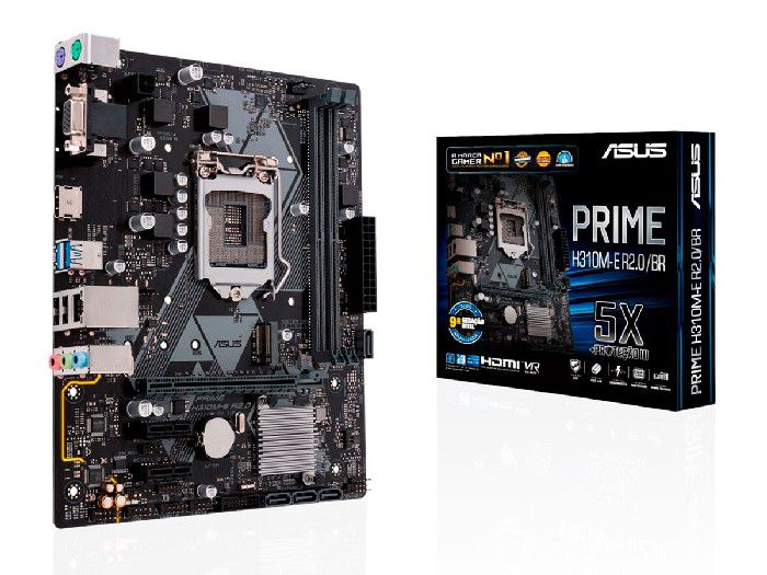 Placa Mãe P/Intel Asus H310M-E R2.0/BR PRIME LGA 1151 DDR4 Matx