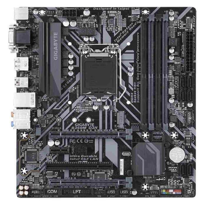 Placa Mae P/intel Gigabyte B360m-d3h Micro-atx Lga 1151 Ddr4 Copativel C/intel 8ª Ger