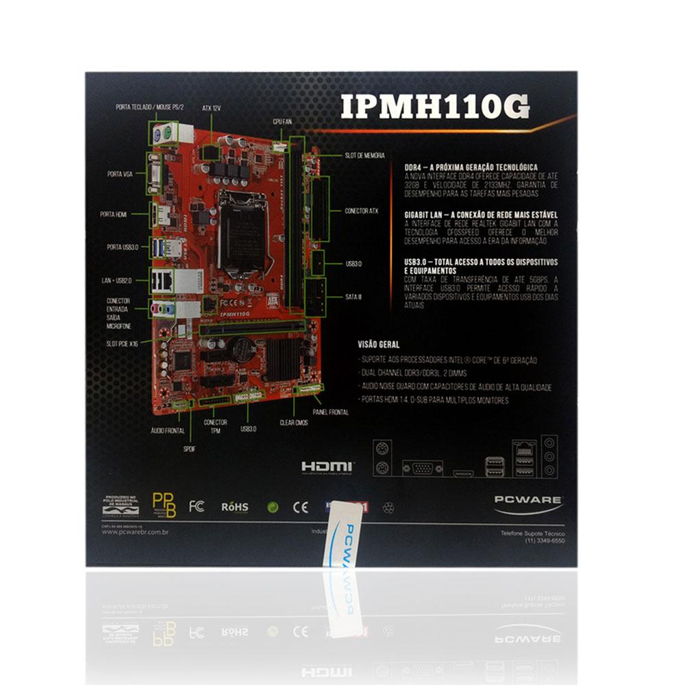 Placa Mãe PCWare IPMH110G Intel LGA 1151 DDR4
