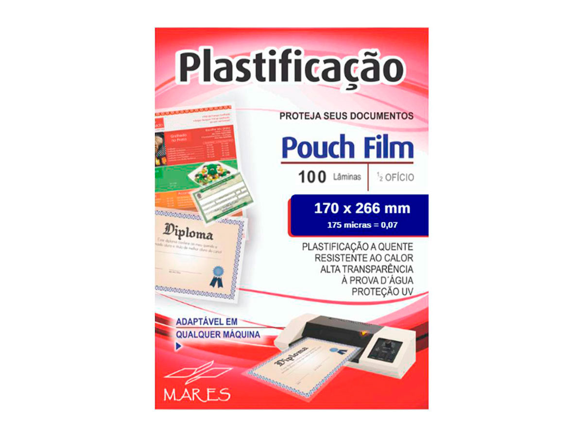 Pouch Film Plastificação 0,7 Meio Oficio Contém 100 Lâminas - Mares