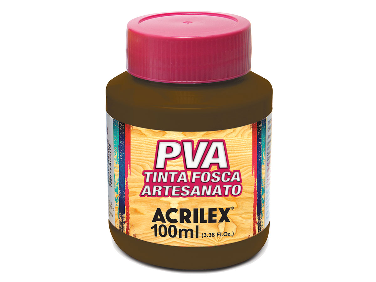 PVA Tinta Fosca para Artesanato, 100 ml, Contém 6 Unidades, Acrilex - Sépia