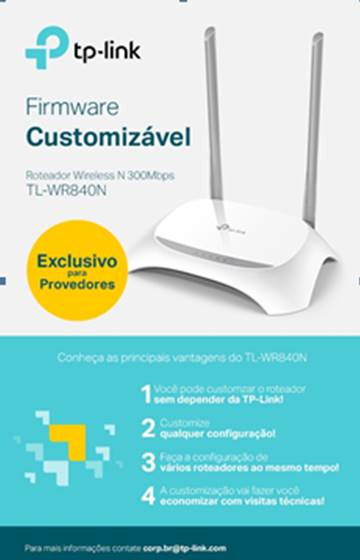 ROTEADOR WIRELESS 300MBPS TP-LINK TL-WR840N ( W ) C/2-ANTENAS EXT.FIXA