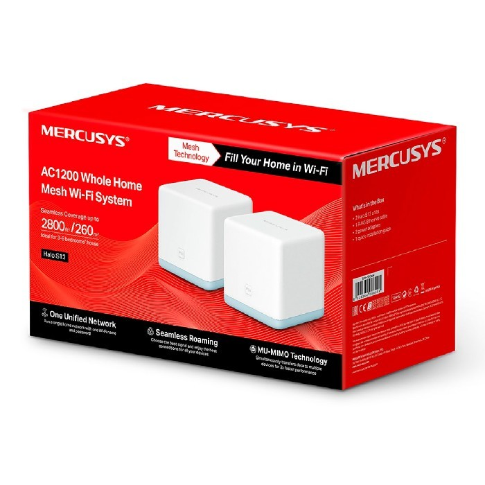 Roteador Wireless Mercusys Halo S12 AC1200 Mesh (Pack 2 Unidades)
