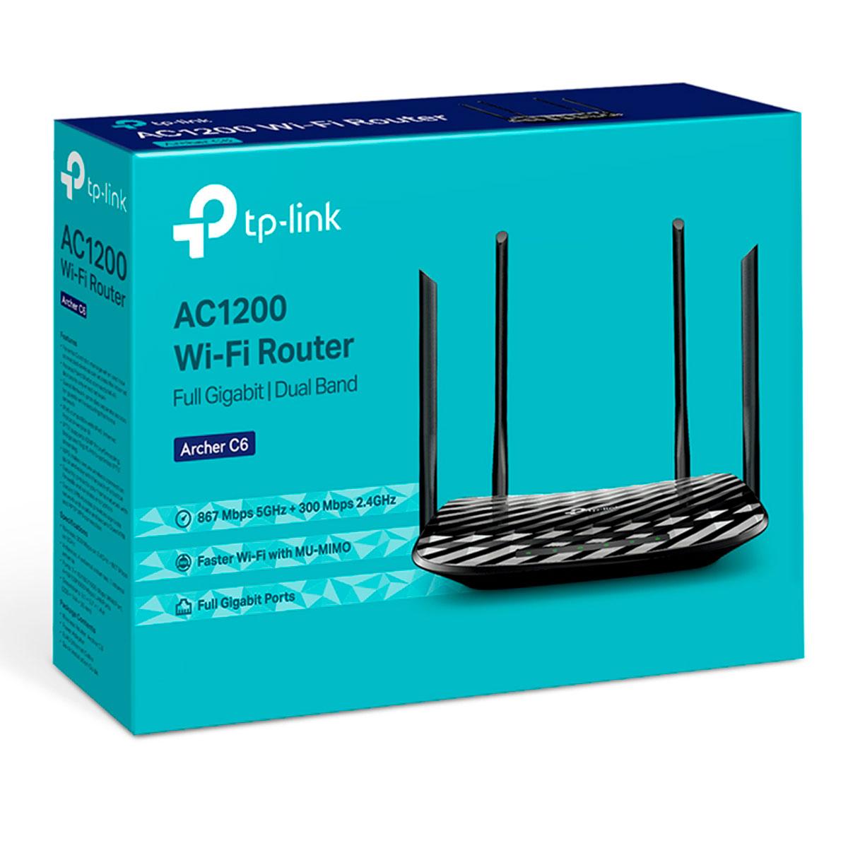 Roteador Wireless TP-Link Archer C6, Dual Band (2.4GHz/5GHz), AC1200, Gigabit, Mu-Mimo, 4 Antenas