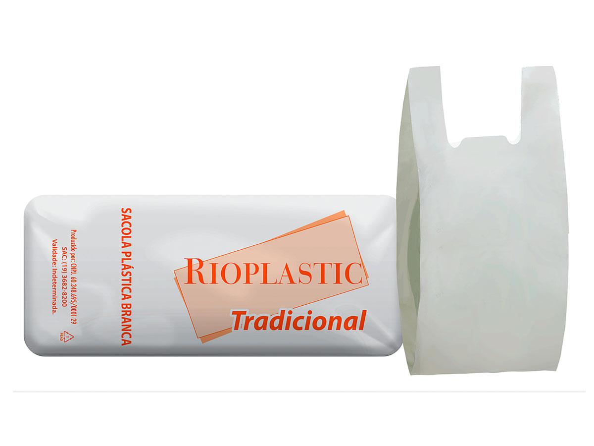 Sacola Plástica Branca, Linha Tradicional, 40cm x 50cm, Pacote C/ 1.000 Unidades - Rioplastic