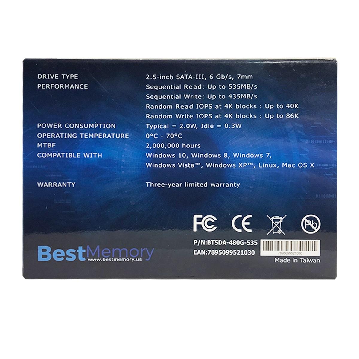 SSD Best Memory Highlander Series 480GB, Leit. 535 MB/s, Grav. 435 MB/s, Sata III - BTSDA-480G-535