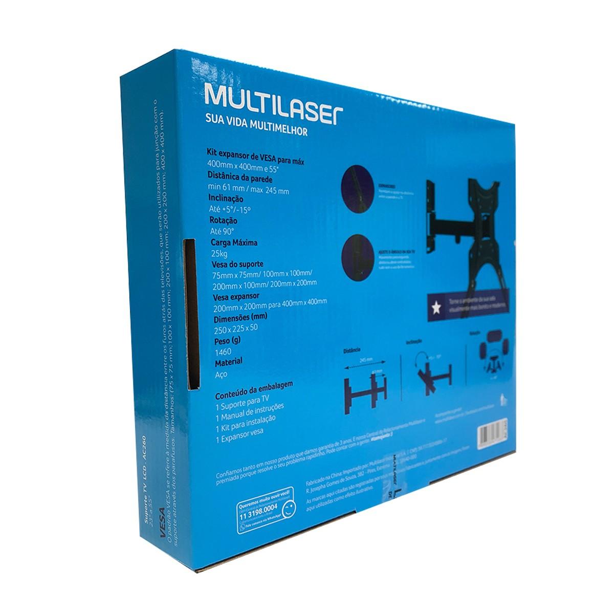 """Suporte Articulado Multilaser para TV de 32"""" até 50"""" Pol, Inclinação e Rotação - AC260"""