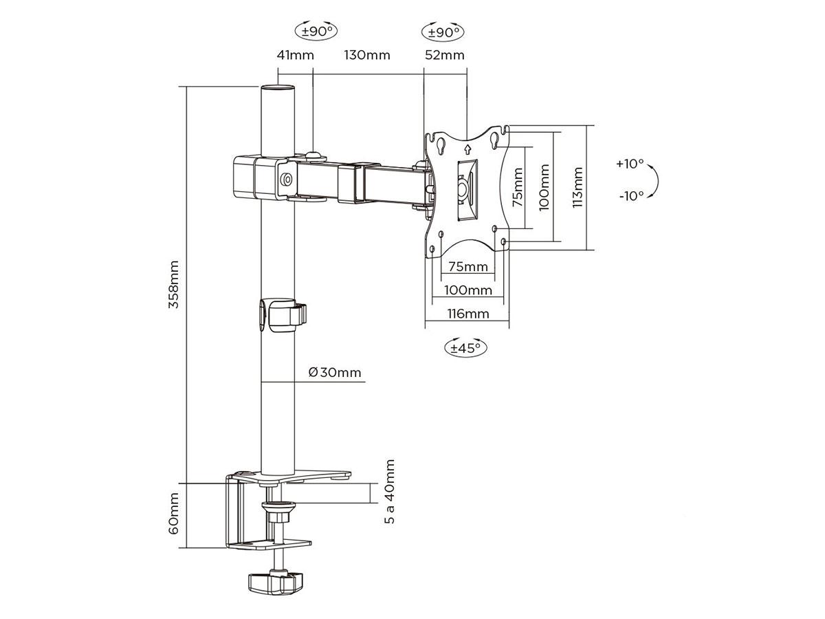 "Suporte de Mesa Elg Articulado P/Monitores 17/27"" Ate 7kg F50N"